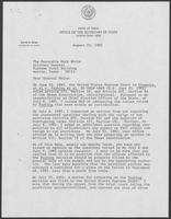 Letter from David A. Dean to Mark White, August 23, 1982