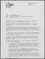 Memorandum from Rich Thomas to Jim Francis regarding White's Utilities Fuel Adjustment Charge Ads, October 6, 1982