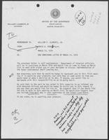 Memo from David A. Dean to William P. Clements, Jr., regarding Texas General Land Office Commissioner Bob Armstrong letter of 13 March 1979