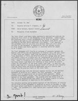 Memo from David Herndon to William P. Clements, Jr. regarding Matagorda Island Agreement, October 19, 1982