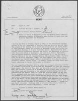 Memo from David Herndon to William P. Clements, Jr. regarding Update on Status of Matagorda Island and Upcoming Public Meetings Concerning Transfer of Federally Owned Portion to Texas Parks and Wildlife Department for Management, August 5, 1982
