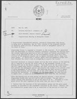 Memo from David Herndon to William P. Clements, Jr. regarding Congressional Hearing on Matagorda Island, May 24, 1982