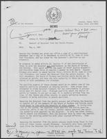 Memo from Johnny R. McCollum to David A. Dean, Forwarded to William P. Clements, Jr., regarding Removal of Governor from the Parole Process, May 4, 1981