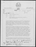 Memo from Johnny McCollum to David A. Dean regarding Texas Department of Corrections Report on Methods to Reduce Prison Population, January 7, 1981