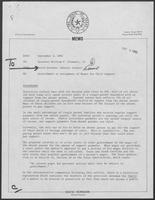 Memo from David Herndon to William P. Clements regarding Garnishment or Assignment of Wages for Child Support, September 3, 1982