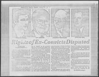 "Newspaper clipping headlined ""Rights of Ex-Convicts Disputed"", August 6, 1976"