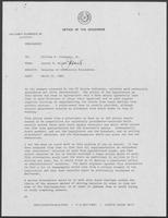 Memo from Jarvis E. Miller to William P. Clements regarding Salaries of University Presidents, March 31, 1982