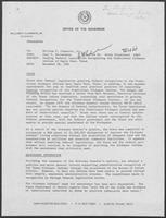 Memo from Paul T. Wrotenbery to William P. Clements regarding Pending Federal Legislation Recognizing the Traditional Kickapoo Indians of Eagle Pass, Texas, December 28, 1981