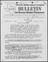 Bulletin on Texas State Finance by the Texas Research League, January 21, 1985