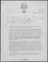 Memo from David Herndon, General Council to William P. Clements, Jr., regarding Appointment Authority of Outgoing Governor, November 17, 1982