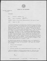 Memo from Paul T. Wrotenbery to William P. Clements, Jr., regarding the status of block grant administration by the Senate of Texas, August 14, 1981