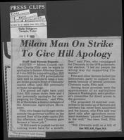 "Newspaper clipping headlined, ""Milam man on strike to give Hill apology,"" January 12, 1980"