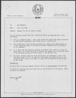 Memo from Eddie Aurispa to Kay Woodward regarding Request for William P. Clements to Serve on Panel, April 16, 1981