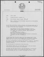 Memo from David Herndon from William P. Clements, July 9, 1982