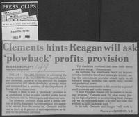 "Newspaper clipping headlined ""Clements hints Reagan will ask 'plowback' profits provision,"" December 6, 1980"