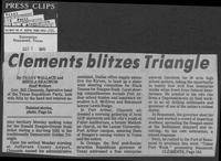 "Newspaper clipping headlined, ""Clements blitzes Triangle,"" October 7, 1980"