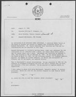 Memo from David Herndon to Bill Clements, August 17, 1982