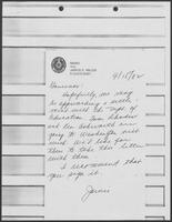 Memo from Jarvis E. Miller to William P. Clements, September 15, 1982