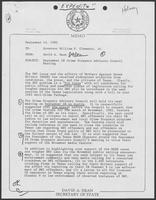 Memo from David A. Dean to Bill Clements, September 15, 1982
