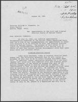 Letter from the Judicial Appointments Recommendation Committee to William P. Clements regarding Appointments to the Civil and Criminal District Courts of Tarrant County, August 28, 1981