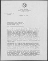 Letter from William P. Clements Jr. to John Culberson, January 14, 1988