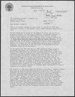 Letter from Department of Education to William P. Clements Jr., regarding the Texas Equal Education Opportunity Plan for Higher Education, April 8, 1982