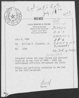 Memo from David A. Dean to William P. Clements, Jr., regarding Law Enforcement Assistance Administration (LEAA), July 9, 1980