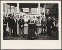 Photograph of William P. Clements, Rita Crocker Clements, and others, Houston, Texas, February 3, 1986