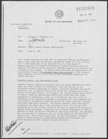 Memorandum from Jarvis E. Miller to Governor William P. Clements, Jr., July 8, 1982