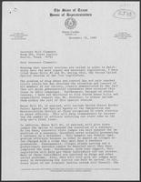 Letter from Henry Cuellar to William P. Clements, Jr. with attached bill, November 28, 1989