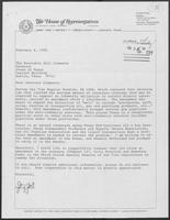 Letter from Jerry Yost to William P. Clements, Jr. with attached bill regarding mineral agreements, February 6, 1990