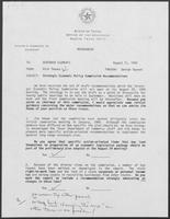 Memo from Rich Thomas to William P. Clements regarding Strategic Economic Policy Commission Recommendations, August 11, 1988