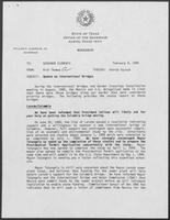Memo from Rich Thomas to William P. Clements regarding Update on International Bridges, February 9, 1989