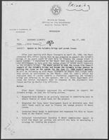 Memo from Rich Thomas to William P. Clements regarding an Update on the Colombia Bridge and Laredo Issues, May 27, 1988