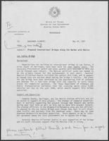 Memo from Rich Thomas to William P. Clements regarding Proposed International Bridges along the Border with Mexico, May 29, 1987
