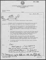Memo from Jim Richardson and Hilary Doran to William P. Clements regarding priority list of pending international bridge projects, May 12, 1982