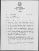 Memo from Rich Thomas to William P. Clements regarding Meeting with Rhone-Poulenc, October 12, 1987