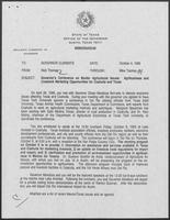 Memo from Rich Thomas to William P. Clements regarding Governor's Conference on Border Agricultural Issues, October 4, 1989