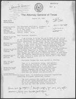 Letter from Mark White to William P. Clements Jr., with attached memo, August 20, 1981
