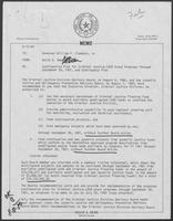 Memo from David Dean to William P. Clements, Jr., regarding continuation plan for criminal justice Law Enforcement Assistance Administration (LEAA) Grant Programs through September 30, 1981, and contingency plan, August 15, 1980