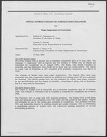 Summary report for the Texas Department of Corrections sent from Gerald A. Mays to Bill Clements, May 15, 1989