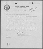 Memo from William Beecher to William P. Clements regarding 1971 New York Times article, February 11, 1974