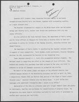 News release from the Office of Governor William P. Clements, Jr.,  announcing the governor's request for President Jimmy Carter to designate Wichita Falls as a major disaster area, April 11, 1979