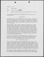 Memo from Johnny R. McCollum to David Herndon regarding Update on Overcrowding in the Texas Department of Corrections, October 27, 1981