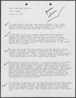 Notes with key points for Press Conference, October 23, 1981