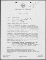 Memo from Bill Lauderback and Rebecca Reynolds to William P. Clements, Jr., regarding Maquila Industry Supply Study Update, February 5, 1988