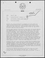 Memo from David Herndon to William P. Clements, Jr. regarding Prison Overcrowding, June 21, 1982