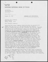 Letter from Ben Boothe to William P. Clements regarding Texas Savings and Loan Industry, August 12, 1987
