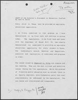 Draft of the Governor's Statement on Education, July 29, 1988