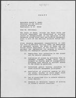 Draft letter from William P. Clements to Donald Hodel, Secretary of the Interior, June 13, 1987